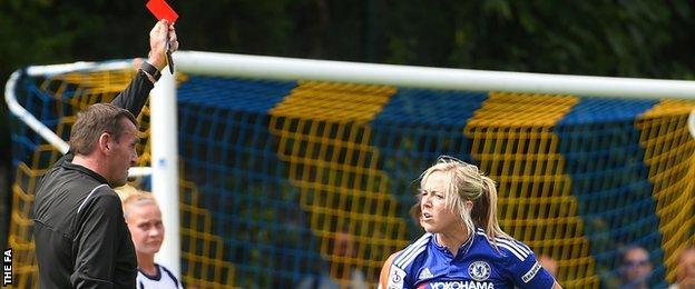 Chelsea's Gemma Davison show a red card