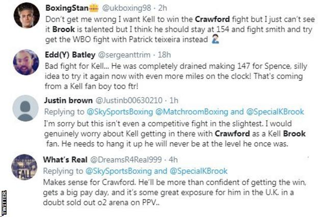 "Boxing fans react on Twitter to news that Kell Brook could fight Terence Crawford next. One fan says it is a ""silly idea"" for Brook while another says ""it won't even be a competitive fight"""