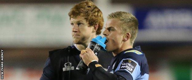 Rhys Patchell and Gareth Anscombe are Cardiff Blues team-mates and rivals