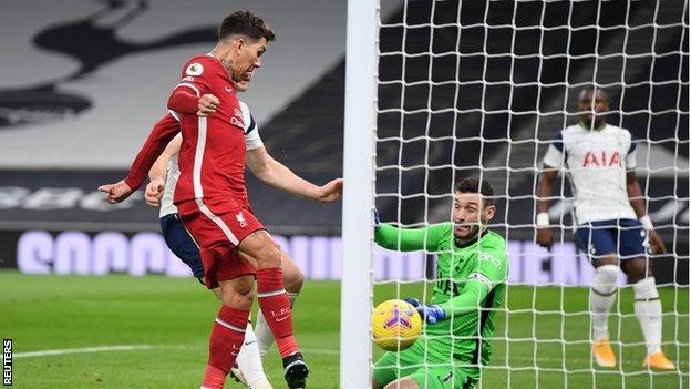 Roberto Firmino taps Liverpool ahead at Tottenham