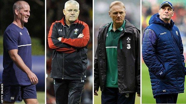 England head coach Stuart Lancaster, Wales boss Warren Gatland, Ireland counterpart Joe Schmidt and Scotland boss Vern Cotter