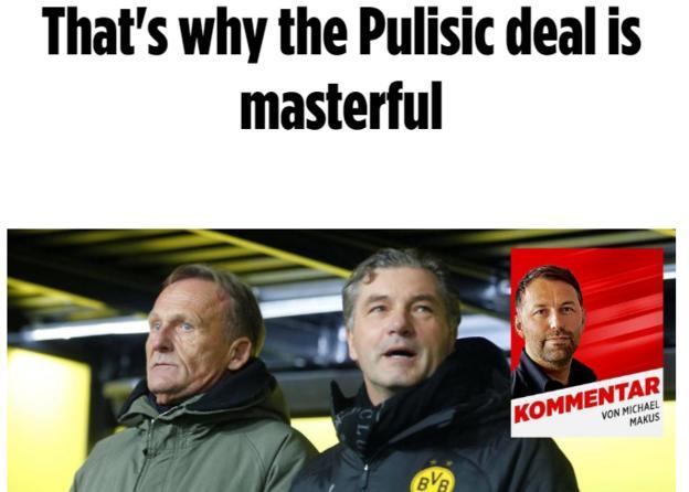 "Bild headline describing the Pulisic deal as ""masterful"""