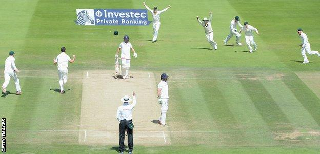 Gary Ballance is caught behind in the second Ashes Test against Australia in 2015