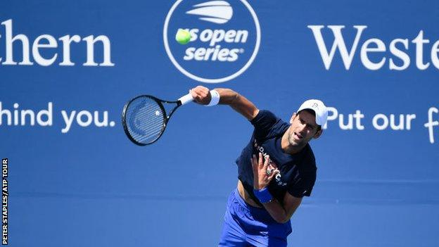 Novak Djokovic practising in New York for the Cincinnati Masters