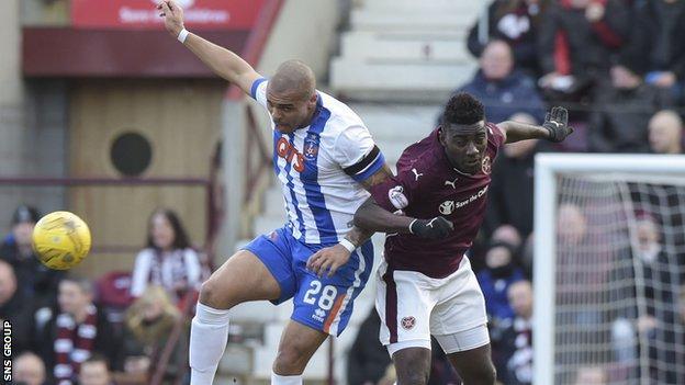 Kilmarnock striker Josh Magennis in action against Hearts