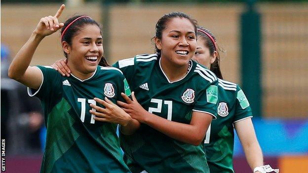 Mexico's women's team celebrate a goal
