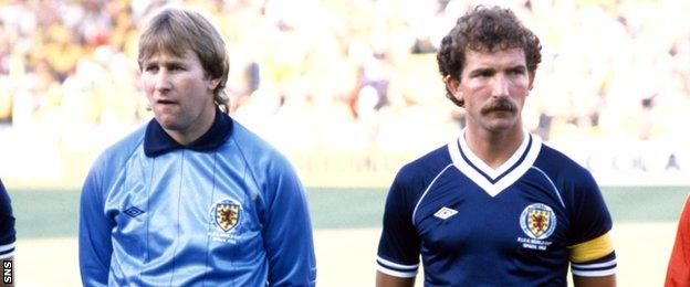 Alan Rough lines up beside Graeme Souness ahead of playing Brazil at the 1982 World Cup