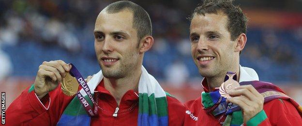 Rhys Williams (right) with Dai Greene