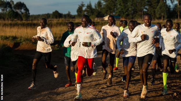 Kipchoge and fellow runners out training