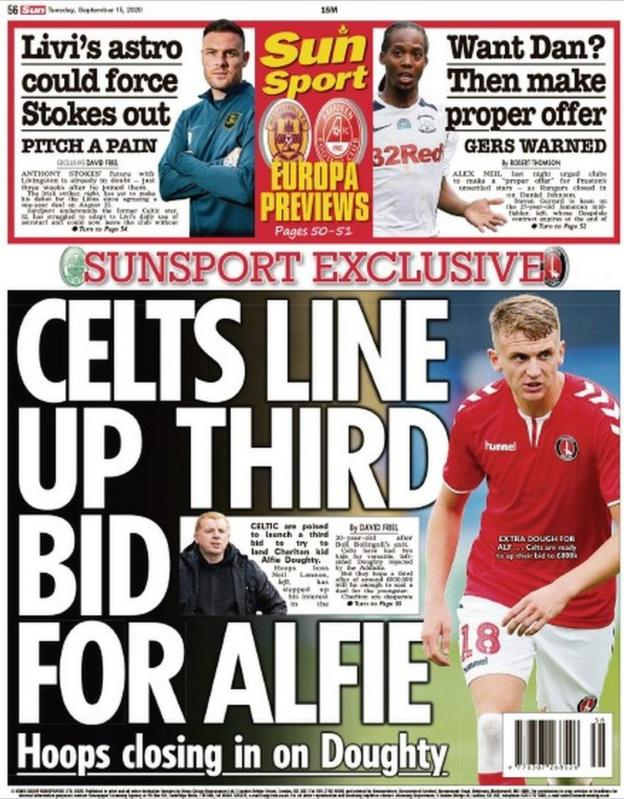The back page of the Scottish Sun on 150920