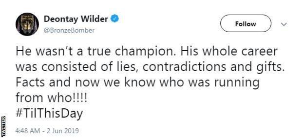 Deontay Wilder tweets