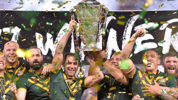 Australia celebrate winning the World Cup