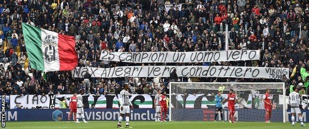 Juventus celebrate winning Serie A