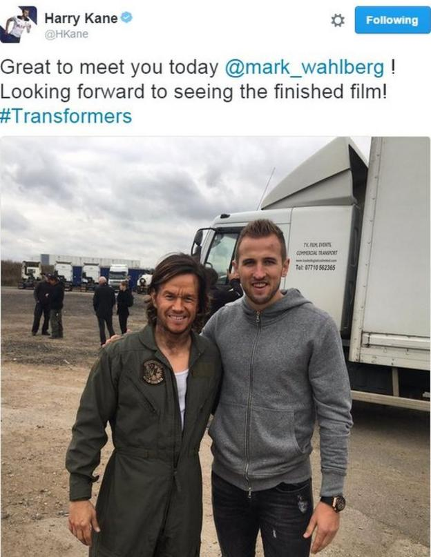 Harry Kane (right) with Hollywood actor Mark Wahlberg