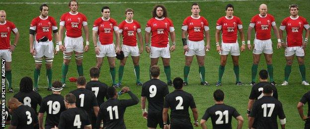 Wales face the All Blacks before the 2008 Test match