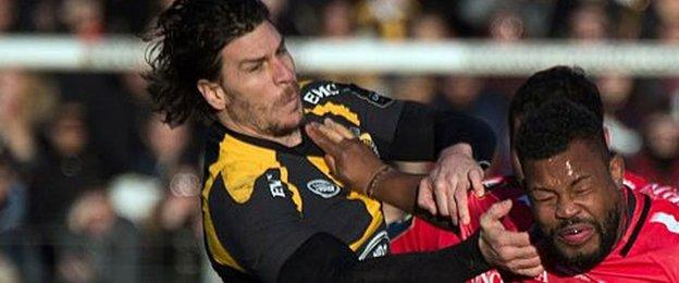Wasps centre Ben Jacobs gets to grips with Toulon flanker Steffon Armitage during their European Champions Cup defeat by the holders in January - in what proved to be his last appearance