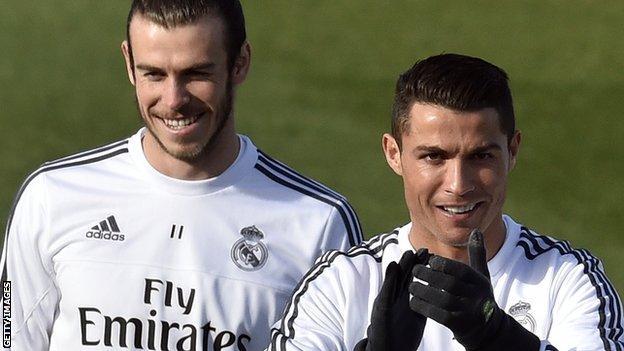 Gareth Bale and Cristiano Ronaldo of Real Madrid