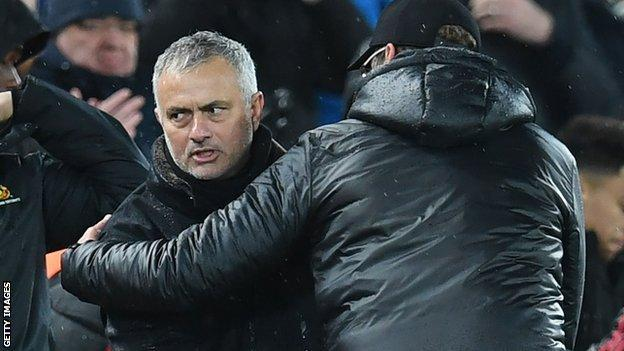 Manchester United manager Jose Mourinho (left)