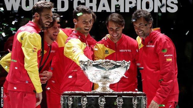 Spain celebrate their 2019 Davis Cup win