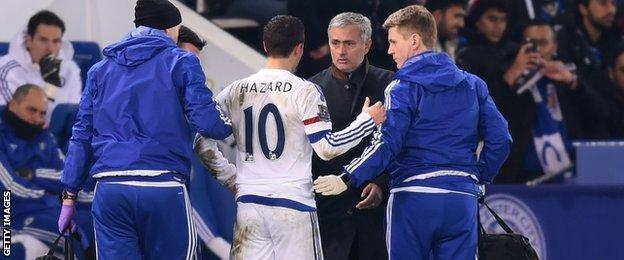 Chelsea's Eden Hazard had to go off after just half an hour following a challenge by Vardy