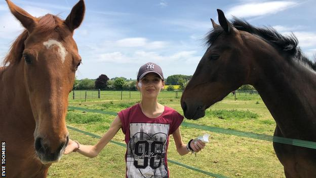 Evie Toombes with her horses