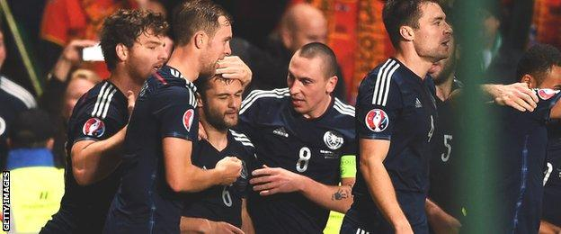 Shaun Maloney is mobbed by team-mates after scoring a great goal for Scotland against the Republic of Ireland