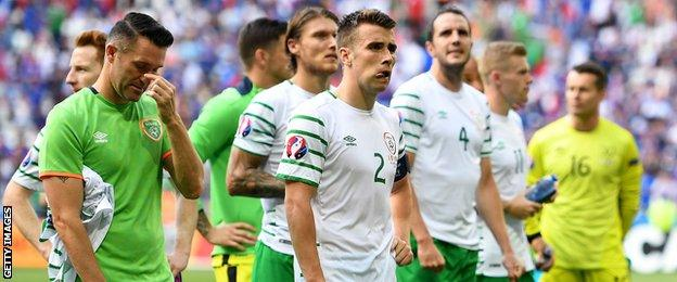 Republic players show their disappointment after their Euro 2016 exit