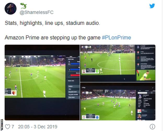 Tweet saying 'Stats, highlights, line ups, stadium audio. Amazon Prime are stepping up the game'
