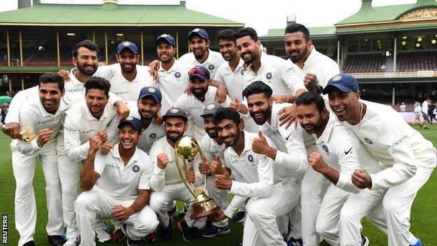 India with the Border-Gavaskar Trophy