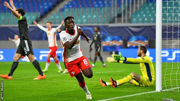 Amadou Haidara celebrates scoring for RB Leipzig