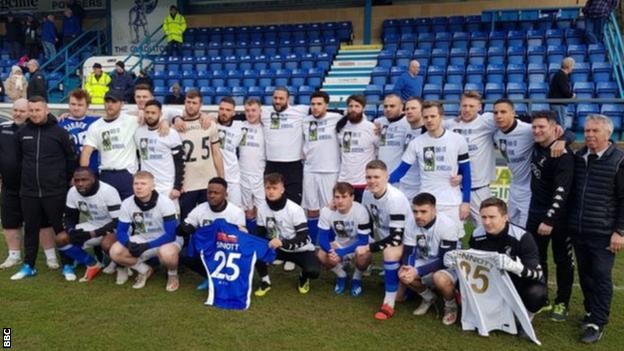 Matlock Town wear tee-shirts in tribute to Jordan Sinnott