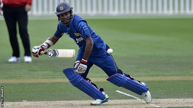 Sri Lanka captain Dimuth Karunaratne plays a shot during the 2015 World Cup