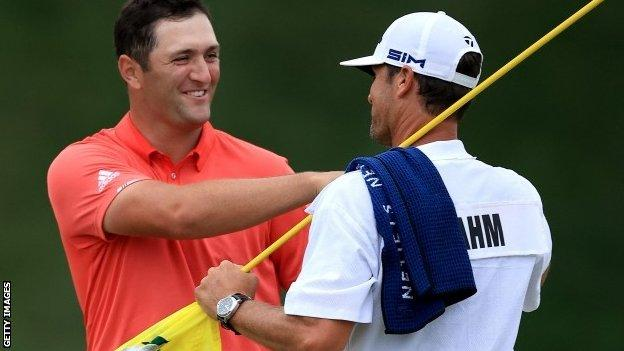 in_pictures Jon Rahm celebrates his Memorial Tournament win with his caddie
