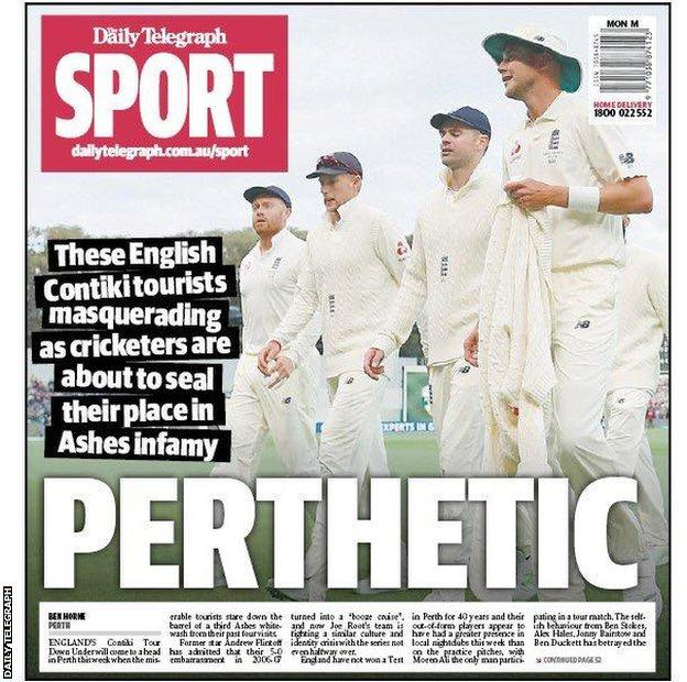"Back page of Australia's Daily Telegraph newspaper describes England's cricketers as ""Perthetic"" before the Third Test in Perth"