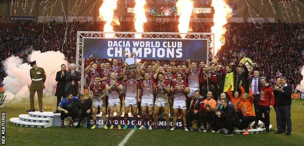 Wigan Warriors celebrate winning the World Club Challenge
