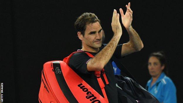 Roger Federer at the 2020 Australian Open