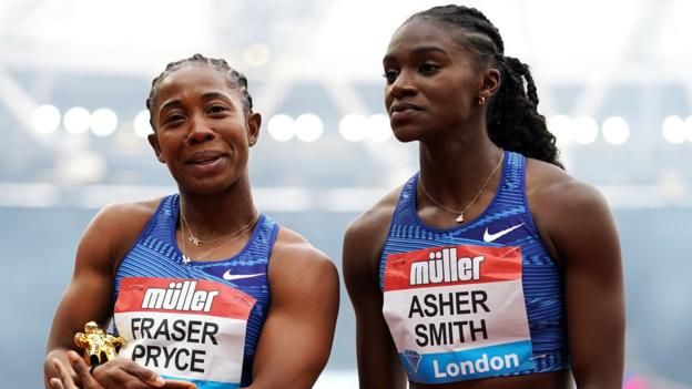Anniversary Games: Dina Asher-Smith second as Shelly-Ann Fraser-Pryce wins 100m