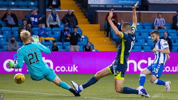 Liam Polworth scores for Kilmarnock against Ayr United