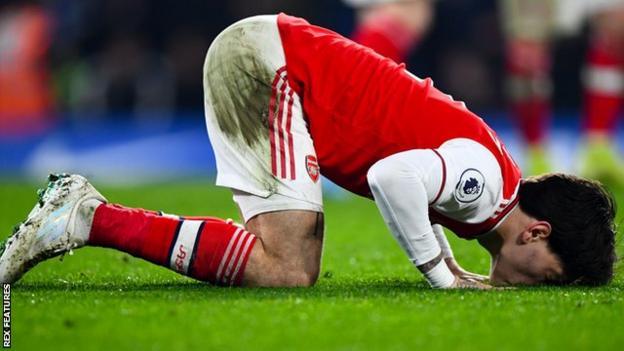Arsenal's Hector Bellerin celebrates scoring against Chelsea
