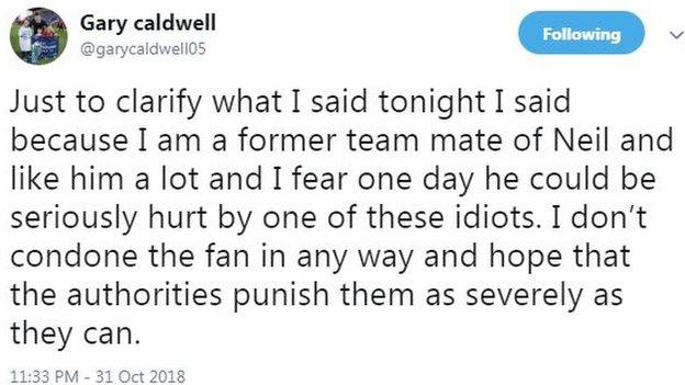Gary Caldwell later explained his BBC Radio Scotland comments on Twitter