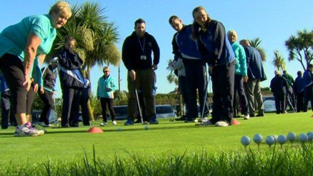 Donaghadee members coach children from Killard House Special School at the launch of the club's Inclusive Golf Hub