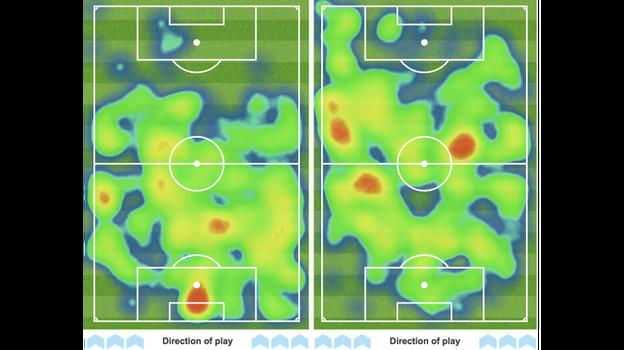Graphics showing Manchester United's first-heat map (left) in comparison to Arsenal's (right)