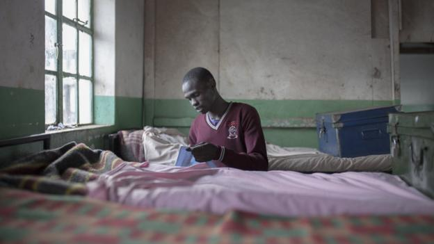 Cornelius Kemboi in his room at St Patrick's High School in Iten, Kenya