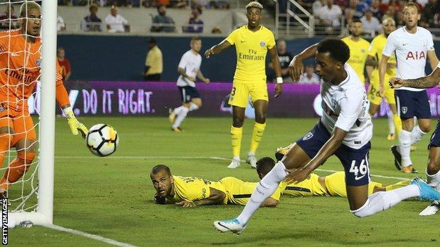 Tashan Oakley-Boothe misses a shot on goal for Spurs during the International Champions Cup 2017 match between Paris Saint-Germain and Tottenham Hotspur