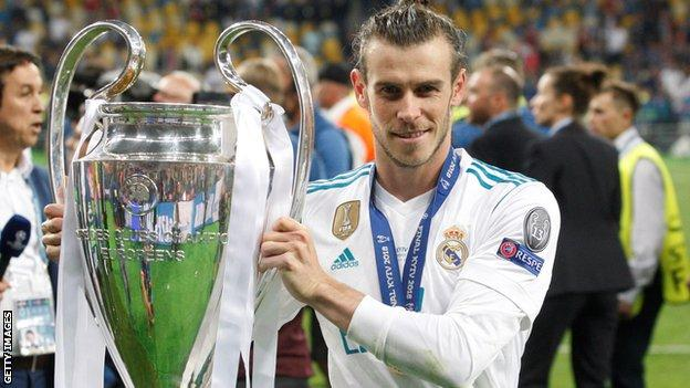 Gareth Bale with Champions League trophy