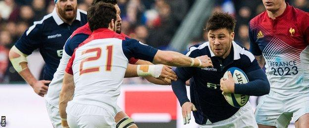 Ali Price in action against France