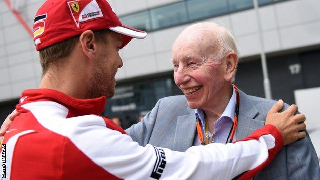 Sebastian Vettel and John Surtees