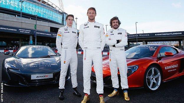 Stoffel Vandoorne, Jenson Button, Fernando Alonso