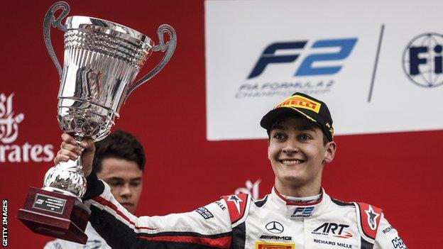 George Russell celebrates an F2 victory
