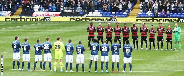 Birmingham and QPR players pay their respects to Howard Kendall before Saturday's Championship meeting